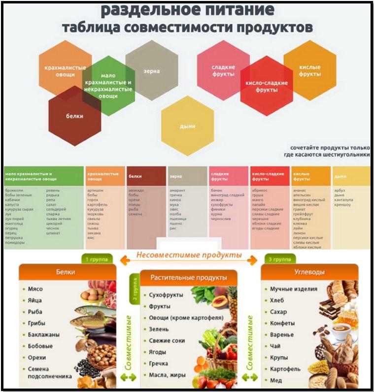 Раздельное питание. Таблица совместимости продуктов